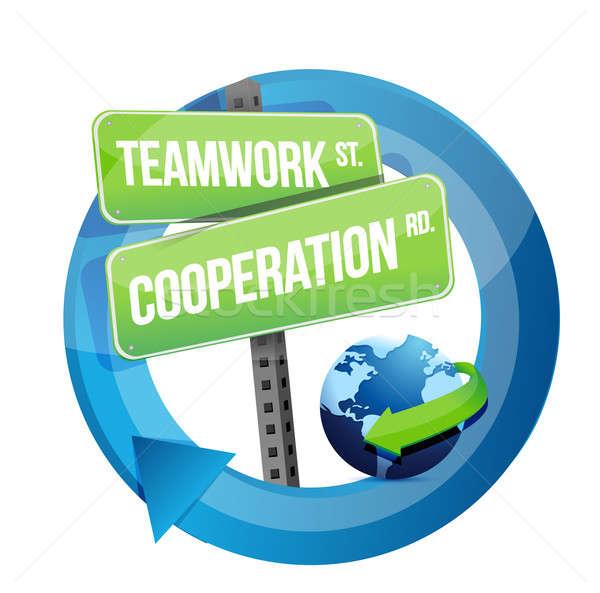 Lavoro di squadra cooperazione cartello stradale illustrazione design bianco Foto d'archivio © alexmillos