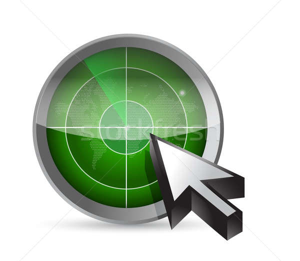 Radar, map and cursor illustration design  Stock photo © alexmillos