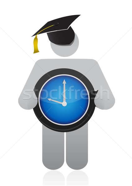 Diplomás tart óra férfi felirat idő Stock fotó © alexmillos