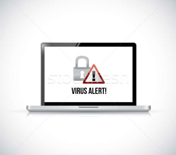 Virus alerter ordinateur portable illustration blanche internet Photo stock © alexmillos