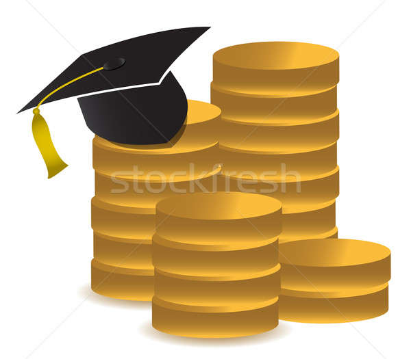 graduation hat and money illustration design over white Stock photo © alexmillos