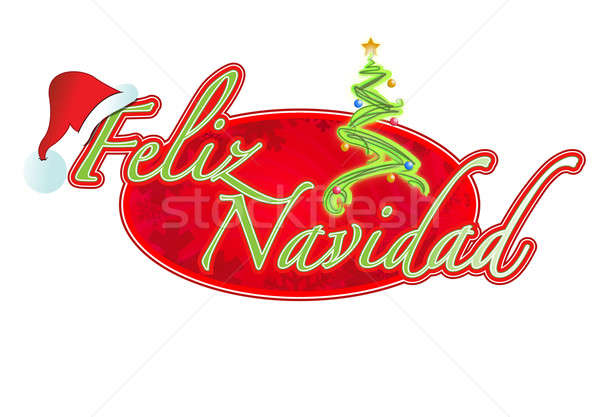 Spanish Christmas sign illustration design Feliz Navidad Stock photo © alexmillos