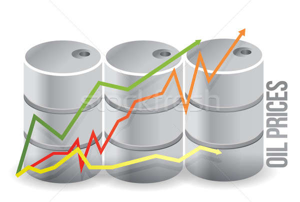oil barrels - oil prices illustration design over white Stock photo © alexmillos