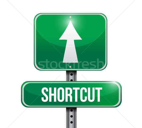 shortcut road sign illustration design over a white background Stock photo © alexmillos