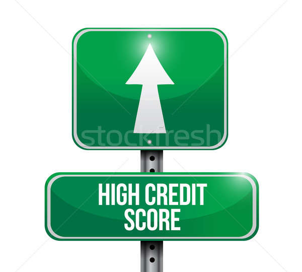 high credit score road sign illustration design over a white bac Stock photo © alexmillos