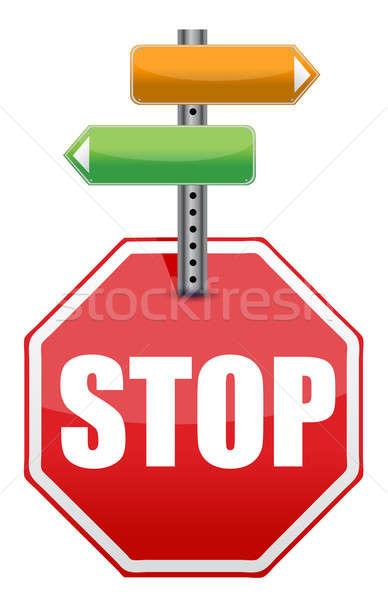 ストックフォト: 一時停止の標識 · 色 · ポインティング · 異なる · 方向