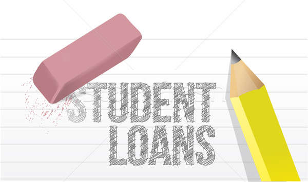 erasing student loans concept illustration design over white Stock photo © alexmillos