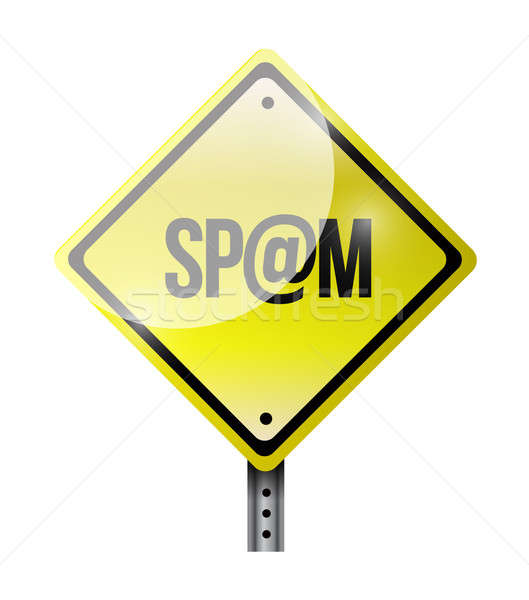 Spam jaune panneau routier illustration design blanche Photo stock © alexmillos