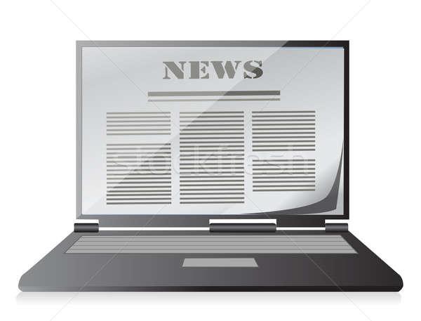 Hírek kirakat notebook laptop illusztráció hálózat Stock fotó © alexmillos