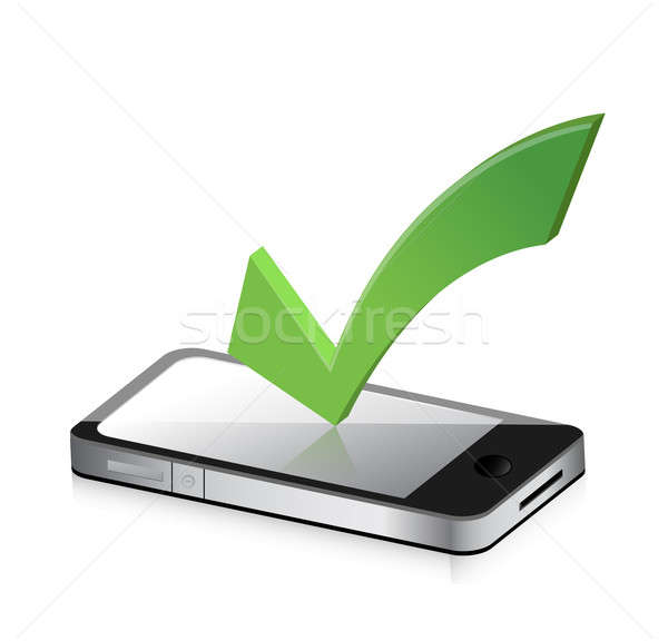 Mobile phone and icon with symbol of tick mark illustration desi Stock photo © alexmillos