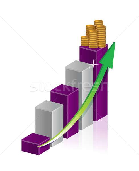 実例 金貨 棒グラフ 矢印 ビジネス デザイン ストックフォト © alexmillos