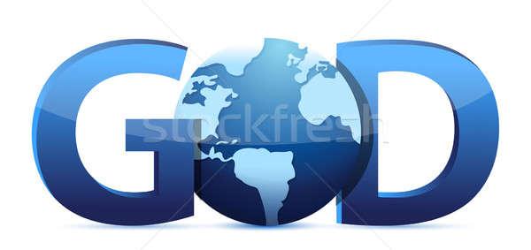 God text and globe Stock photo © alexmillos