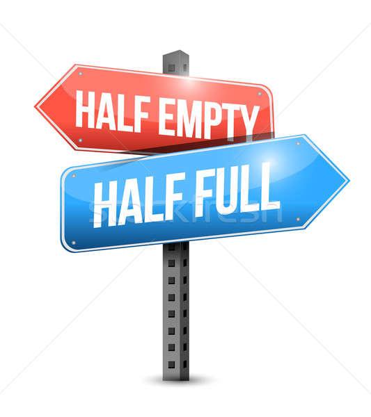 Half full, half empty road sign illustration  Stock photo © alexmillos