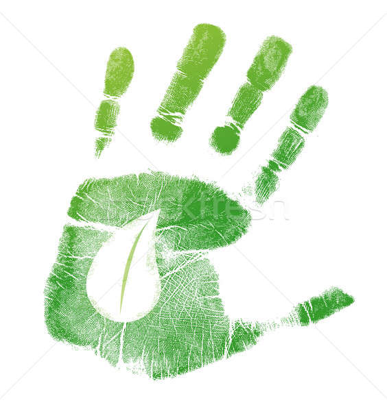 Eco handprint leave illustration design  Stock photo © alexmillos
