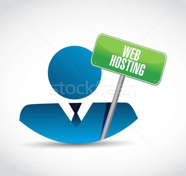 веб хостинг бизнесмен знак иллюстрация графического дизайна Сток-фото © alexmillos