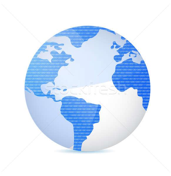 двоичный код земле иллюстрация мира свет науки Сток-фото © alexmillos