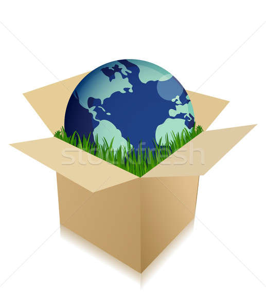 Globe in a shipping box with grass Stock photo © alexmillos