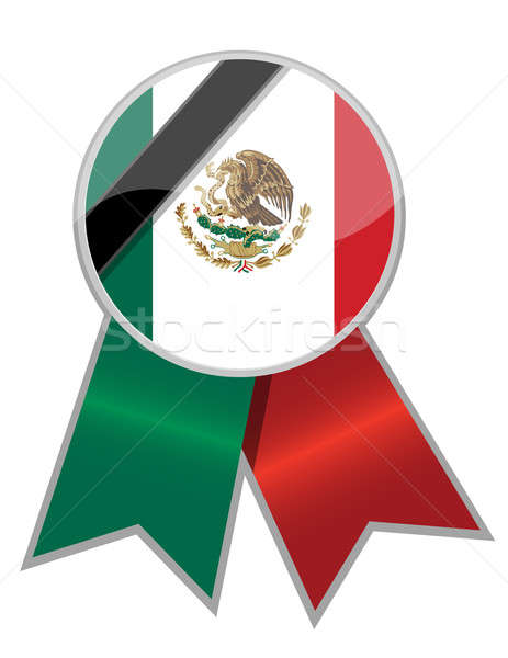 Mexican ribbon with black memorial stripe illustration. Stock photo © alexmillos