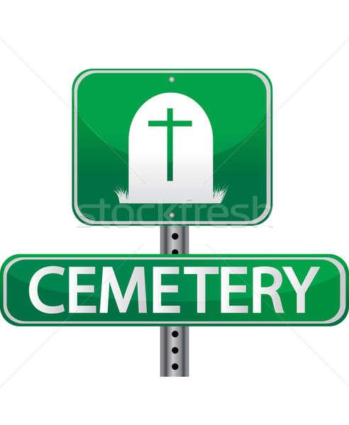 Mezarlık sokak işareti imzalamak ölüm ok kavram Stok fotoğraf © alexmillos