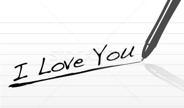 Pen iscritto amore carta matita sfondo Foto d'archivio © alexmillos