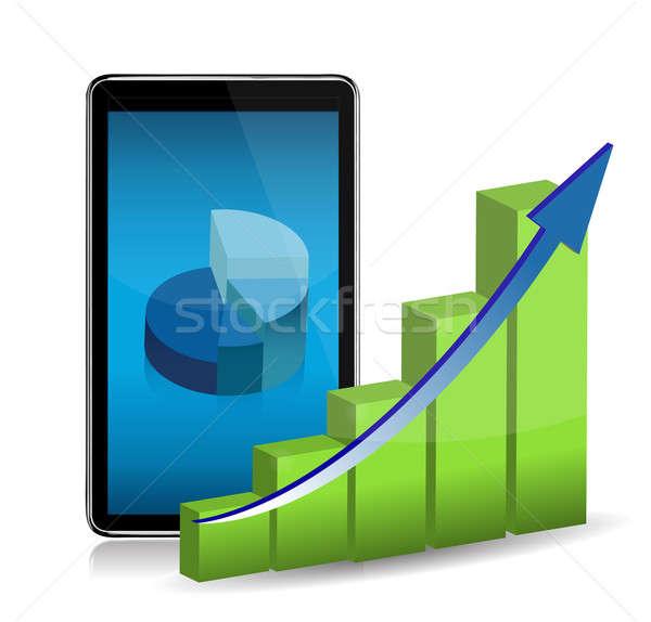 Computer tablet tonen statistisch charts kantoor Stockfoto © alexmillos
