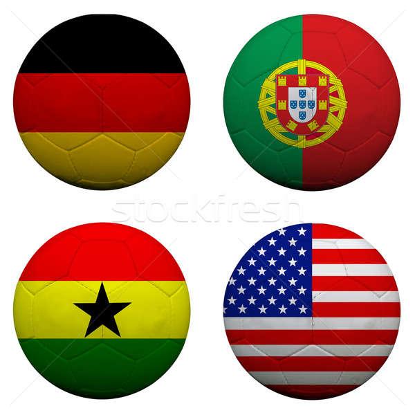 Stock fotó: 3D · futball · golyók · csoport · csapatok · zászlók