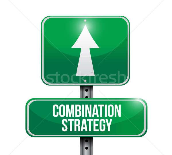 Combinação estratégia placa sinalizadora ilustração projeto branco Foto stock © alexmillos