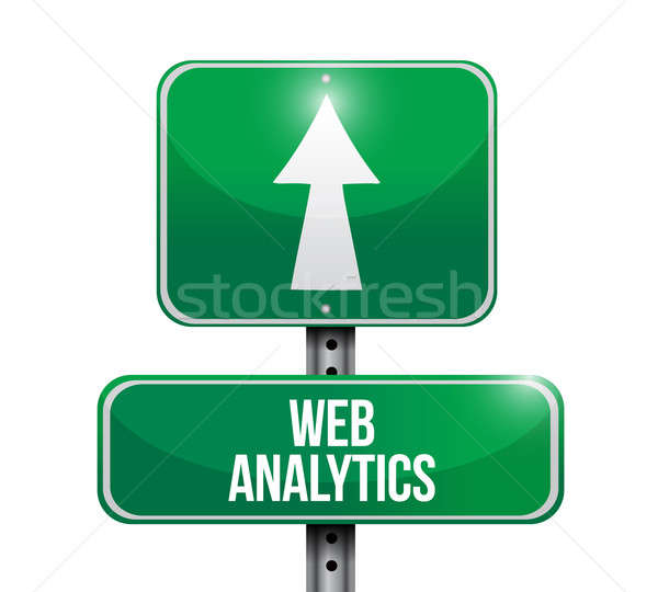 Web analytics panneau routier illustration design blanche Photo stock © alexmillos