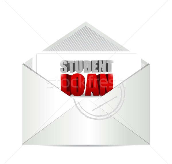 Diák kölcsön posta illusztráció terv fehér Stock fotó © alexmillos