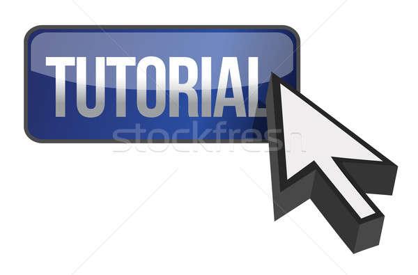 Tutorial botão ilustração projeto branco computador Foto stock © alexmillos