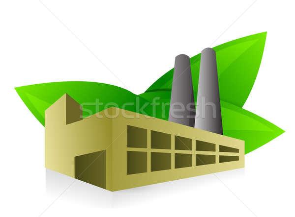 Környezetbarát gyár illusztráció terv fehér absztrakt Stock fotó © alexmillos