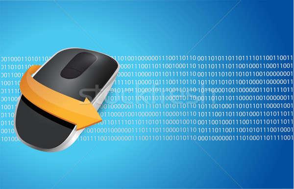 беспроводных Компьютерная мышь изолированный синий двоичный компьютер Сток-фото © alexmillos