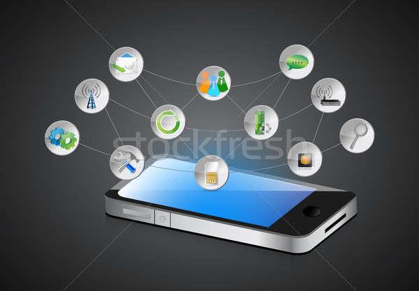 携帯 スマートフォン アプリ シンボル 暗い ビジネス ストックフォト © alexmillos