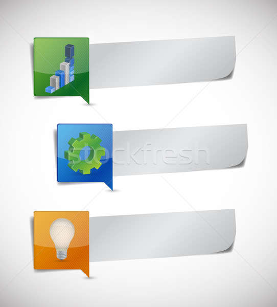 business info graphic paper. illustration design over a white ba Stock photo © alexmillos