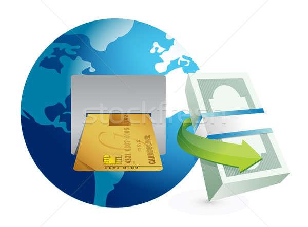 Global caixa eletrônico ilustração projeto gráfico branco Foto stock © alexmillos