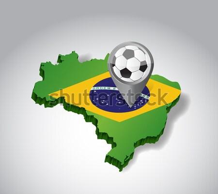 Brezilya futbol gol 3d metin imzalamak futbol Stok fotoğraf © alexmillos