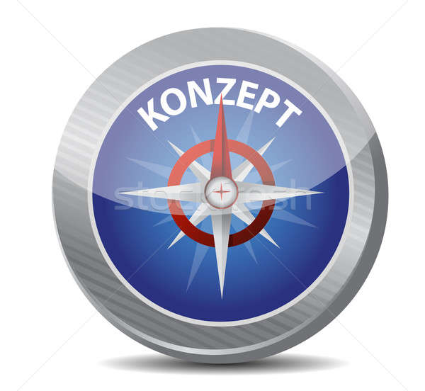 Stock photo: compass guide to concept in german. illustration design over whi