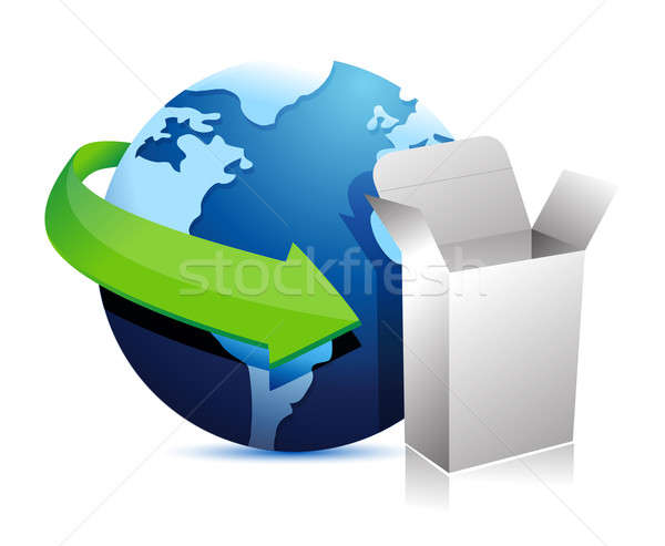 globe arrow and product box illustration design over a white bac Stock photo © alexmillos