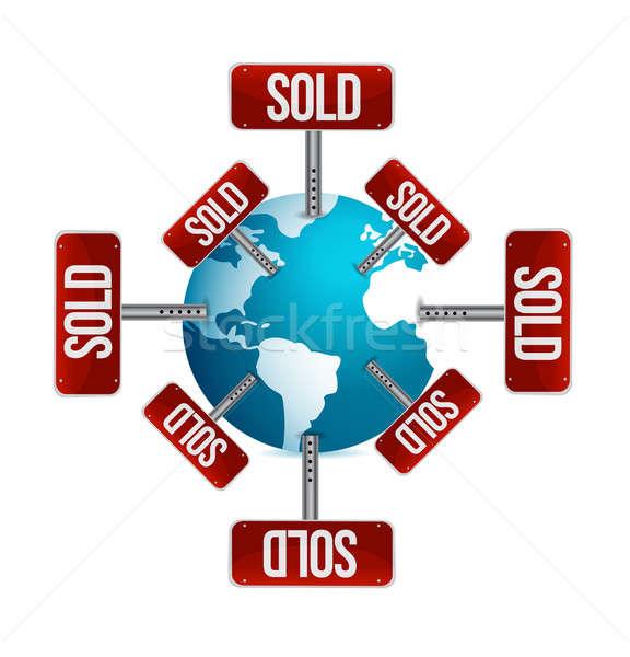Stock fotó: Földgömb · eladva · üzenetek · világ · felirat · piac