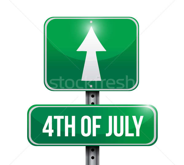 4th of July road sign concept illustration design Stock photo © alexmillos