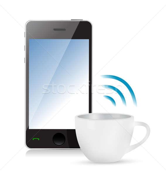 Internet kapcsolat kávésbögre illusztráció terv fehér Stock fotó © alexmillos