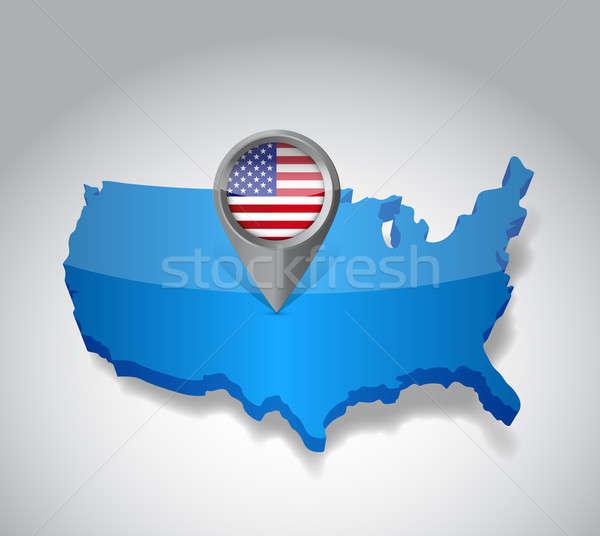 Egyesült Államok Amerika USA térkép zászló illusztráció Stock fotó © alexmillos