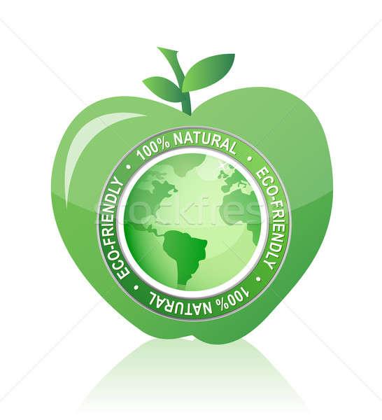 Elma etiket 100 doğal çevre dostu mühürlemek Stok fotoğraf © alexmillos
