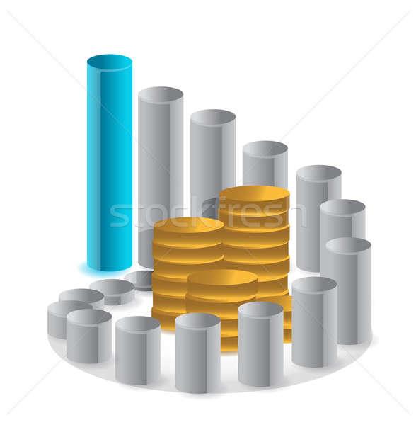 Grafik Münzen Illustration Design Gruppe Stock foto © alexmillos