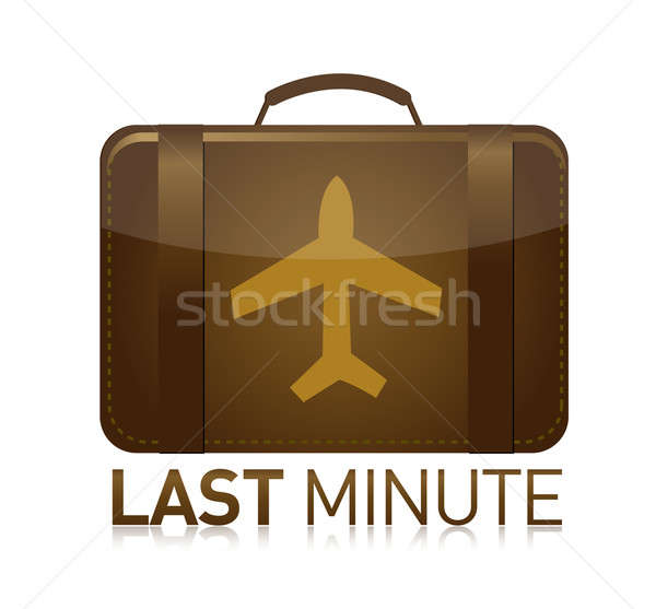last minute luggage airplane illustration design over white Stock photo © alexmillos