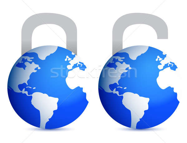 lock and unlock globes illustration design over white back Stock photo © alexmillos