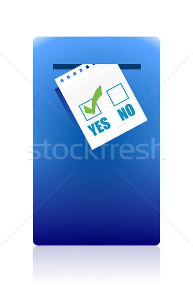 Yes and No Checkboxes with yes selected over white background Stock photo © alexmillos