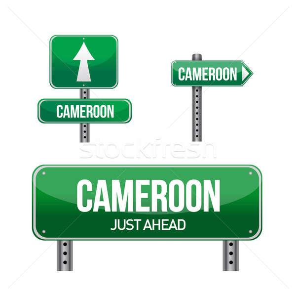 Camarões estrada rural assinar ilustração projeto branco Foto stock © alexmillos