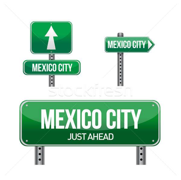 Mexikóváros jelzőtábla illusztráció terv fehér út Stock fotó © alexmillos