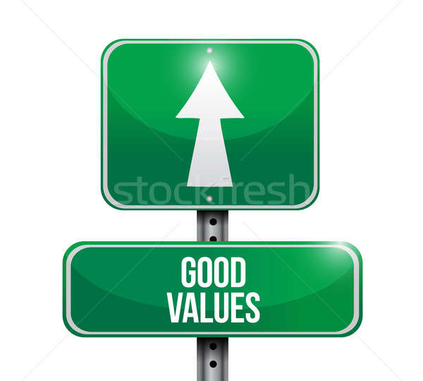 good values road sign illustration design over a white backgroun Stock photo © alexmillos